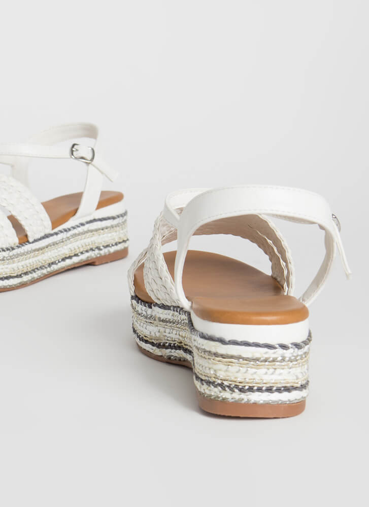 Vacation-Ready Woven Platform Sandals WHITE
