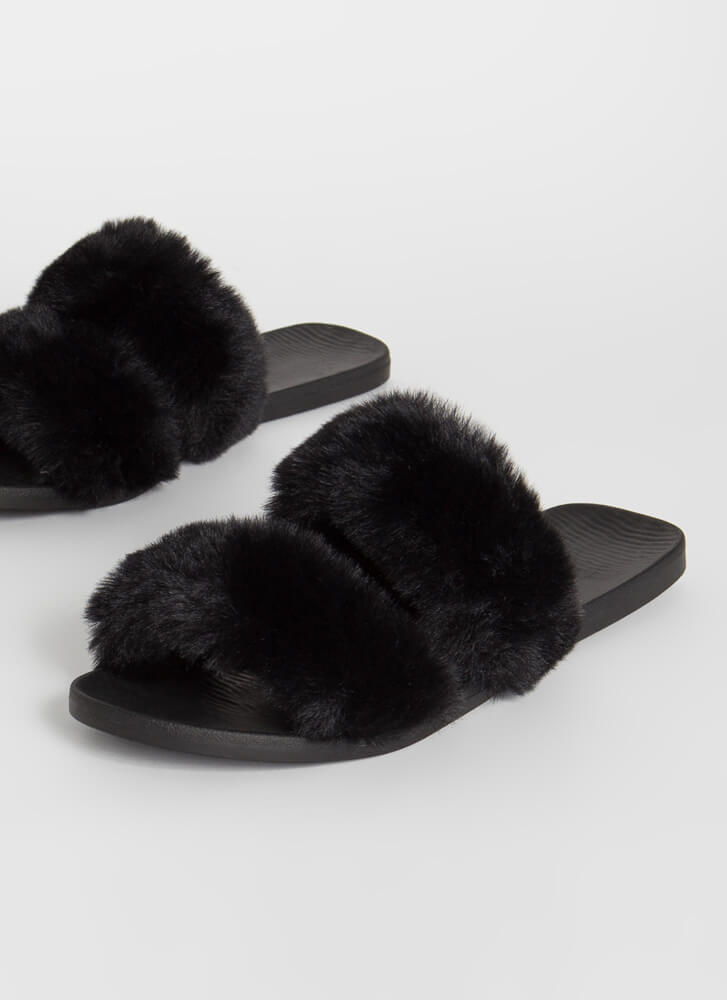 You Better Furry Up Slide Sandals BLACK