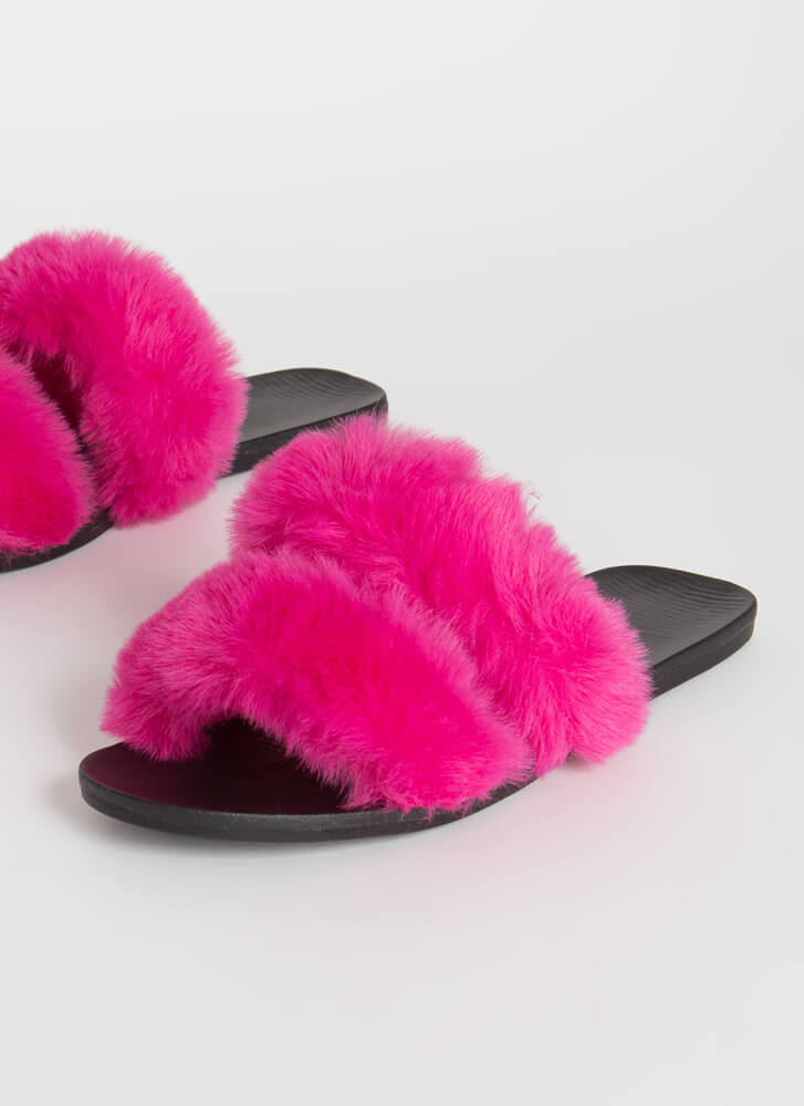 You Better Furry Up Slide Sandals HOTPINK