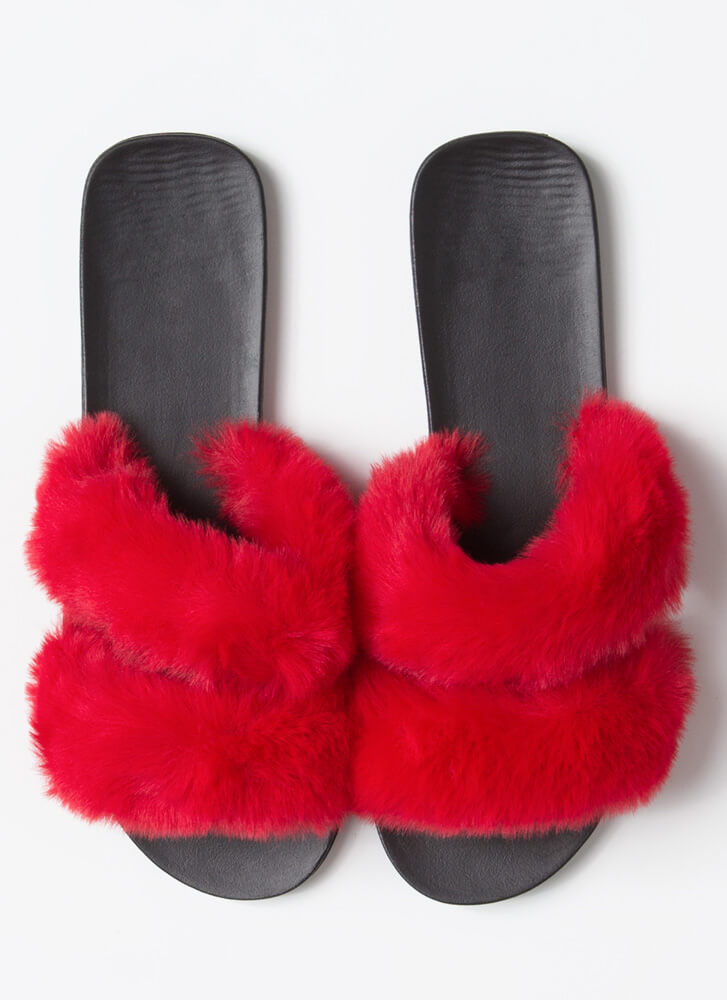 Better Furry Up Plush Slide Sandals RED
