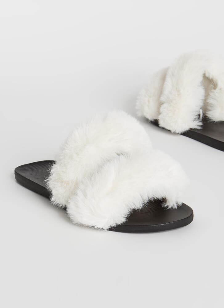 You Better Furry Up Slide Sandals WHITE