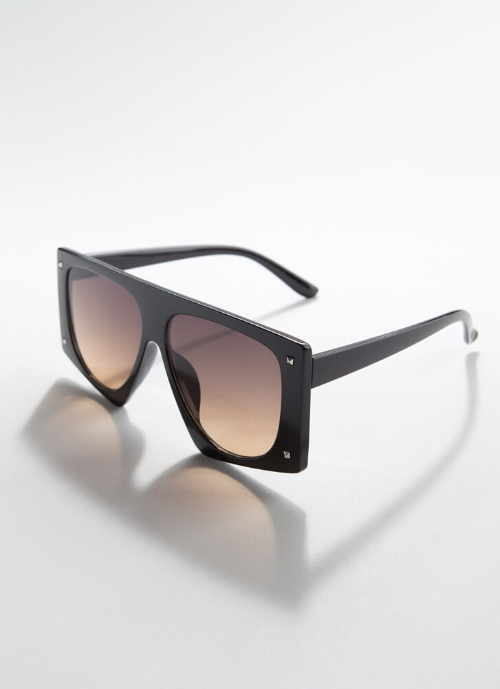Cool Squared Thick-Rimmed Sunglasses BLACK