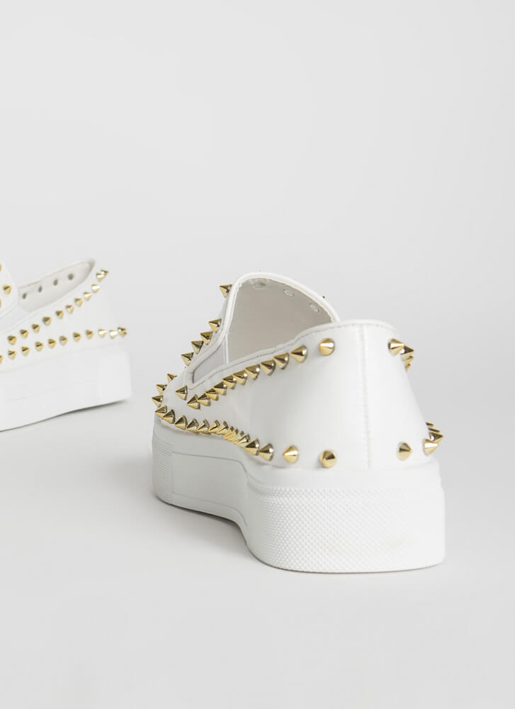 Distance Spiky Studded Platform Sneakers WHITE