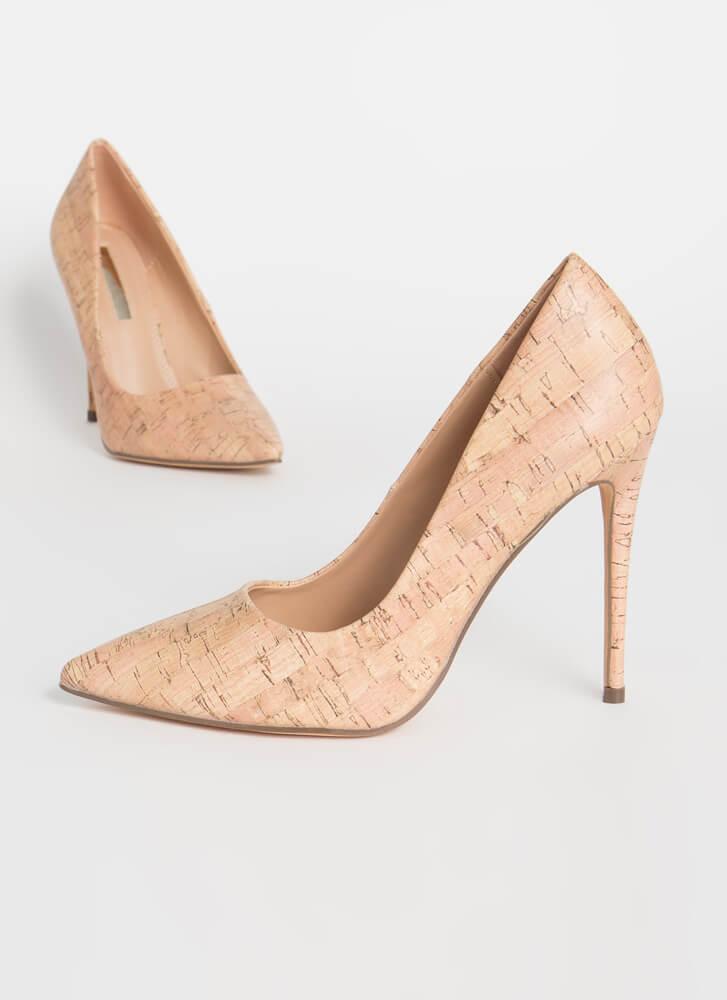 Point It Out Cork Stiletto Pumps CORK