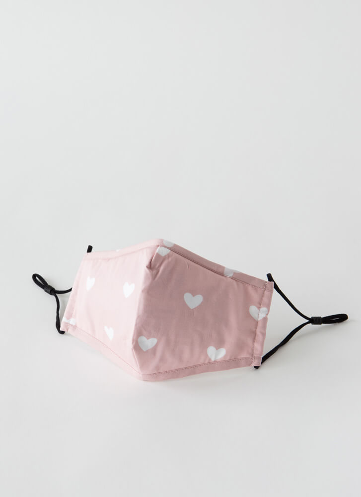 I Need A Filter Heart Print Face Mask PINKWHITE