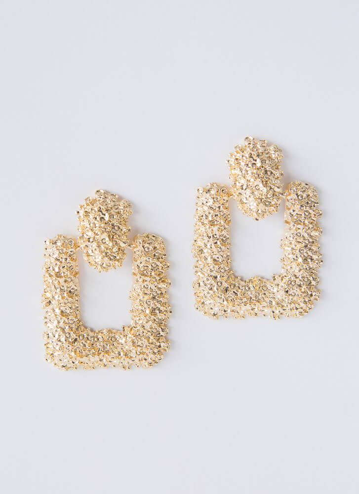 Square Off Textured Doorknocker Earrings GOLD