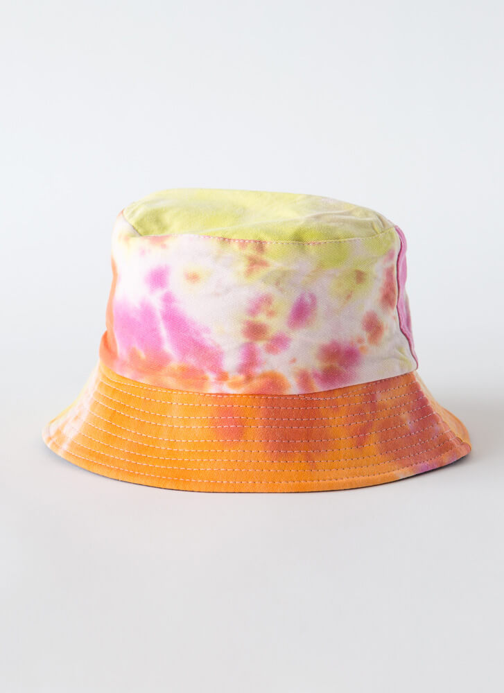 Fun Hair Day Tie-Dye Bucket Hat ORANGE