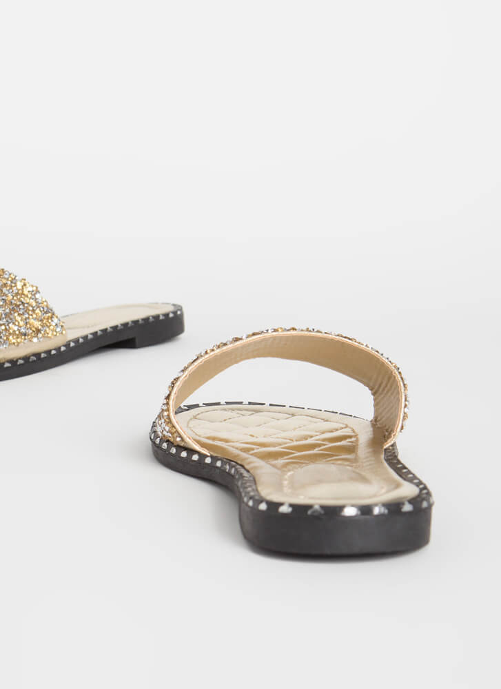 Get Flashy Studded Jeweled Slide Sandals GOLD