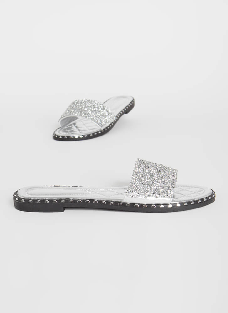 Get Flashy Studded Jeweled Slide Sandals SILVER