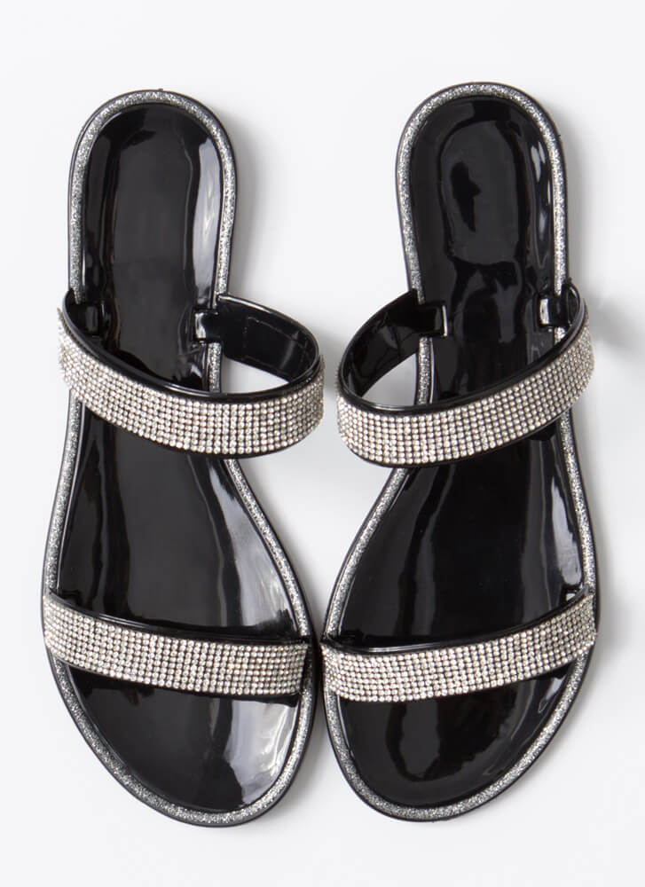 Pool Champ Jeweled Jelly Slide Sandals BLACK
