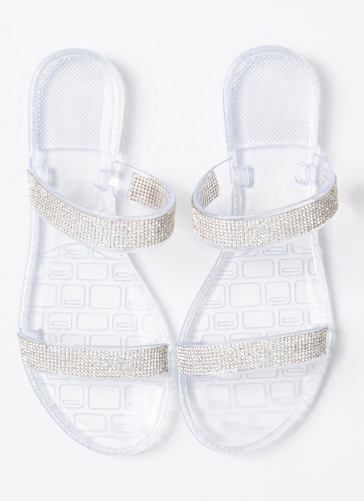 Pool Champ Jeweled Jelly Slide Sandals CLEAR