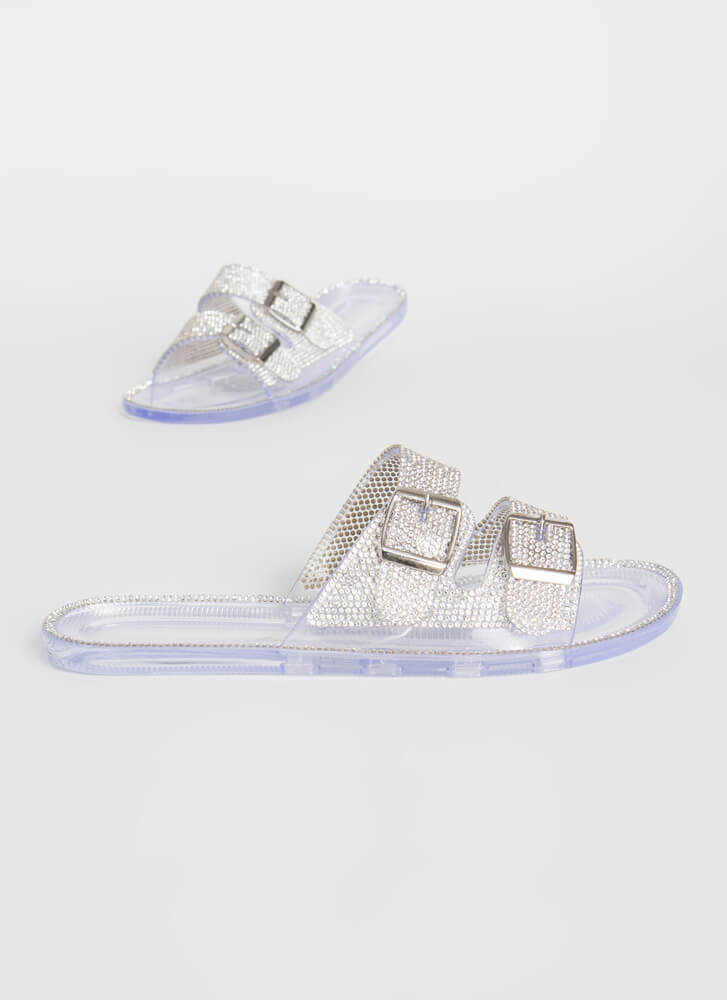 Jeweled Everything Buckled Slide Sandals CLEAR