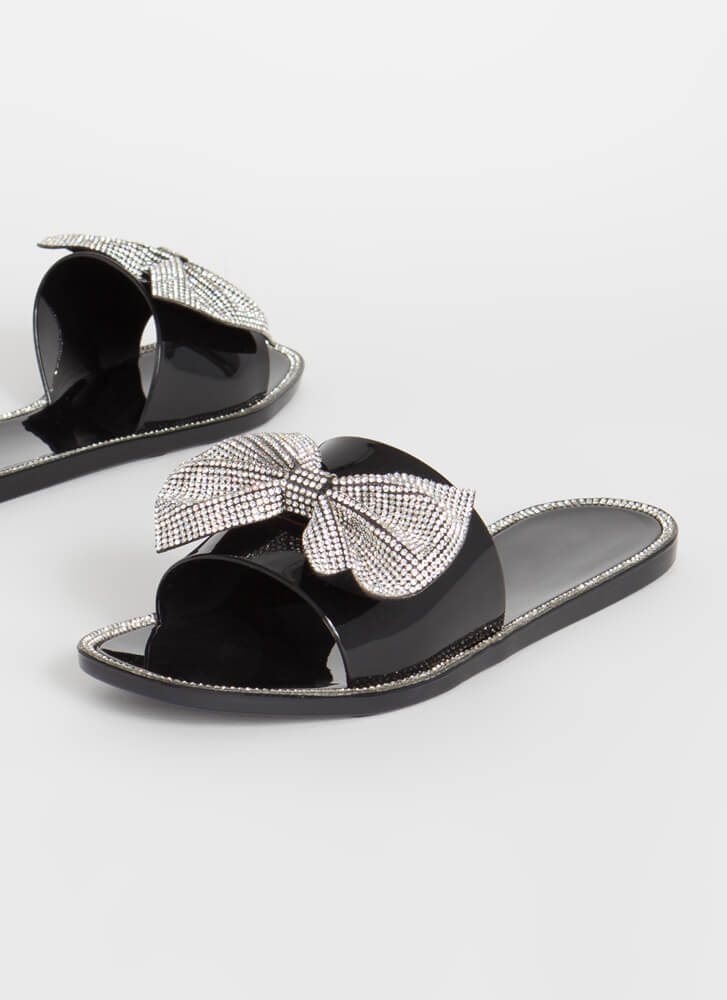 Bow For The Gold Jeweled Slide Sandals BLACK