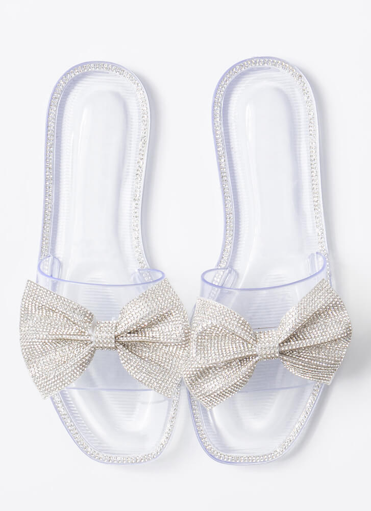 Bow For The Gold Jeweled Slide Sandals CLEAR