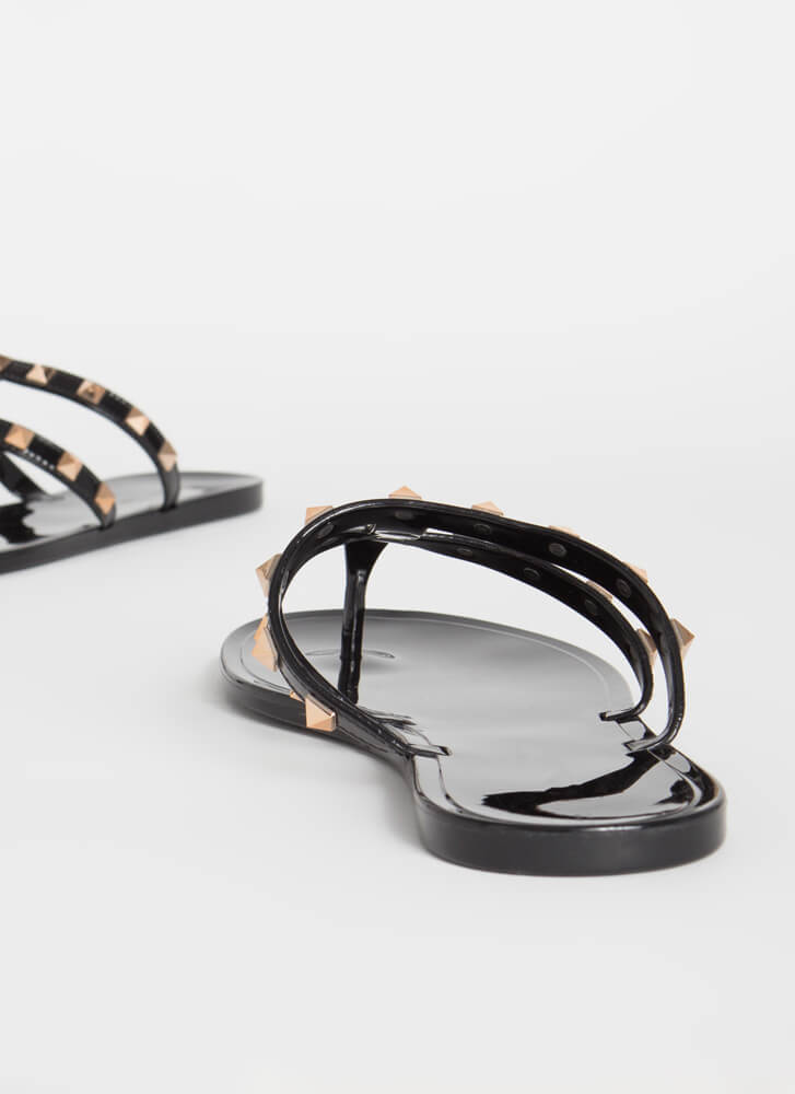 You Stud Semi-Caged Jelly Thong Sandals BLACK