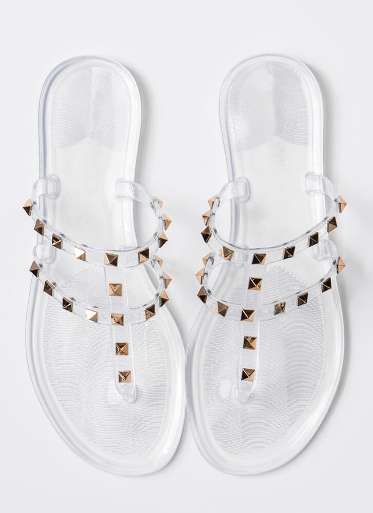 You Stud Semi-Caged Jelly Thong Sandals CLEAR