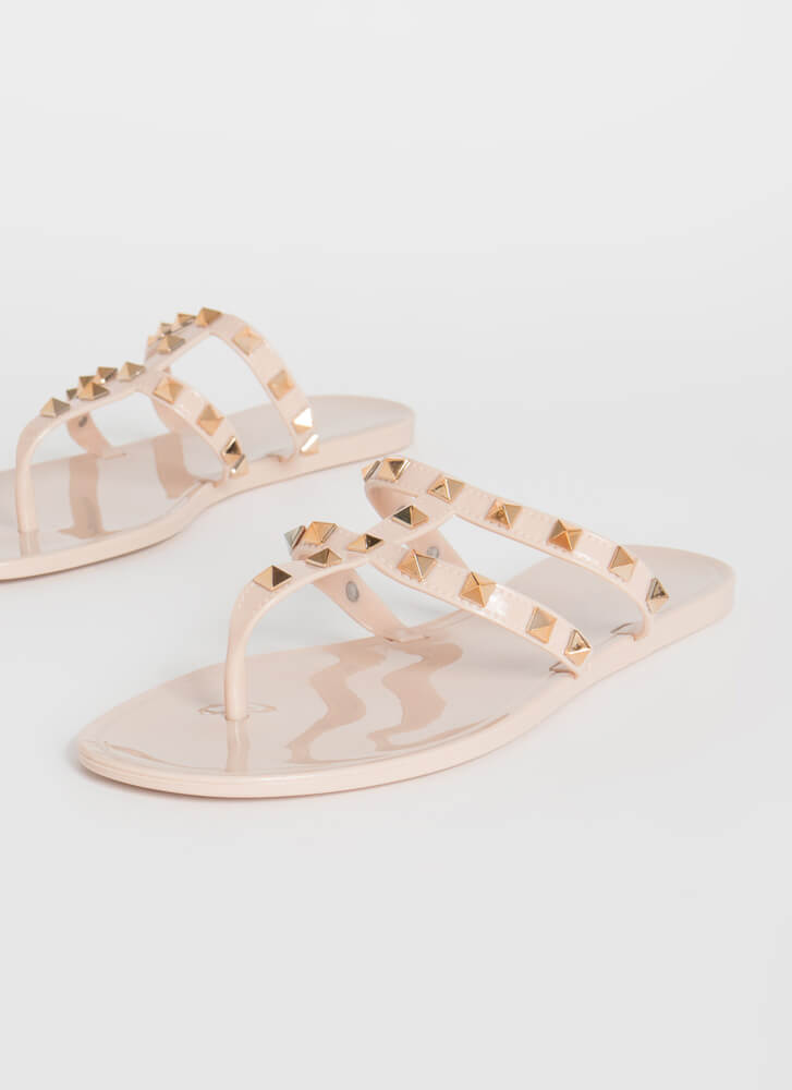 You Stud Semi-Caged Jelly Thong Sandals NUDE