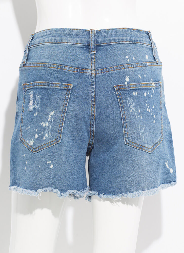 Bleach Bunny Destroyed Denim Shorts MEDBLUE