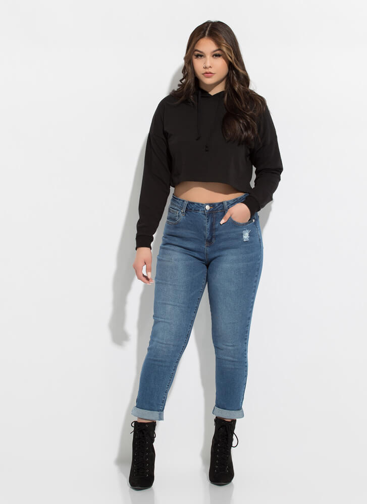 Give It To Me Straight-Leg Cuffed Jeans DKBLUE