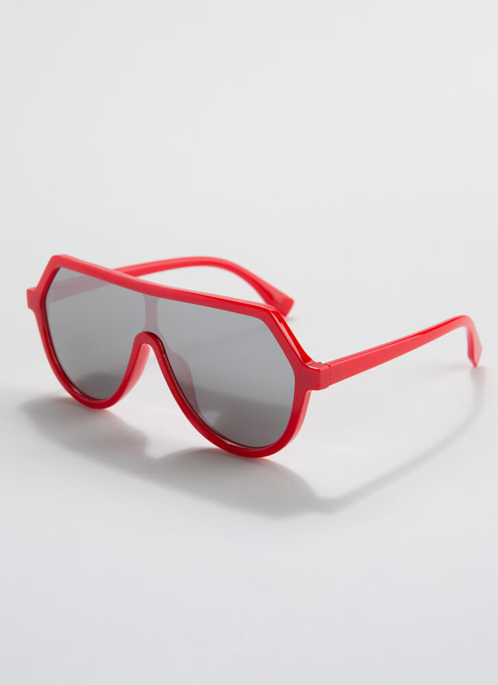 Scuba Gear Round Goggle Sunglasses RED