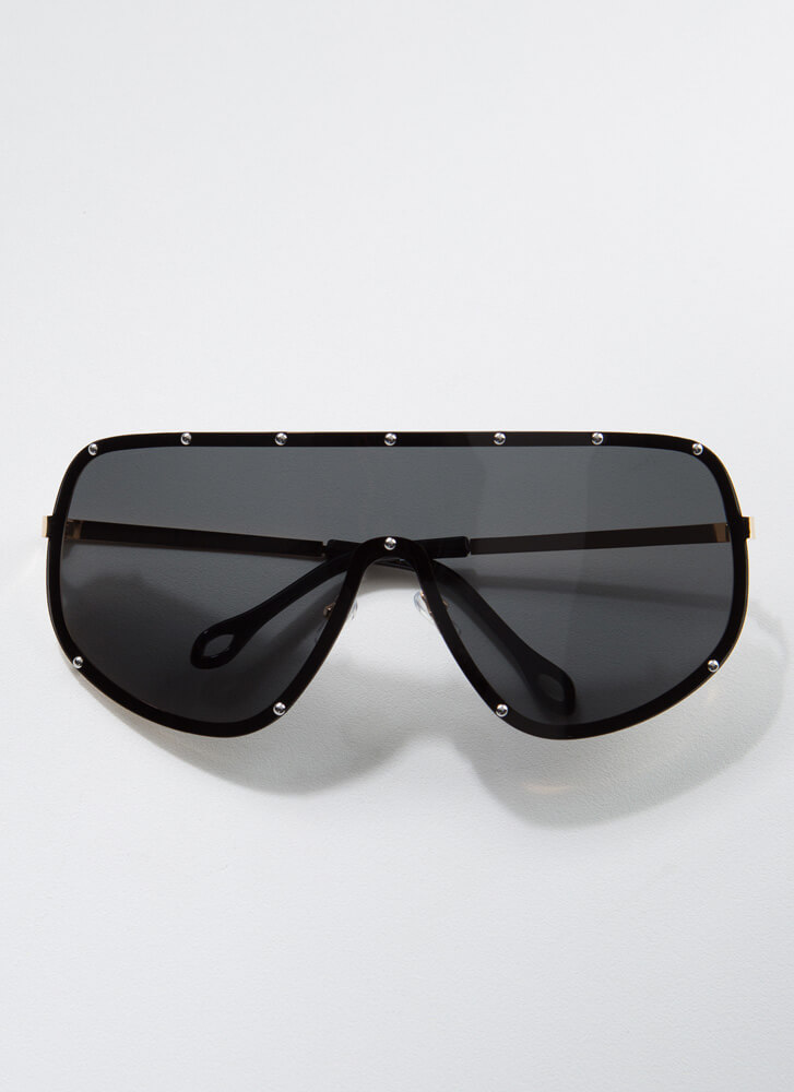 Celeb Studded Goggle Sunglasses BLACK