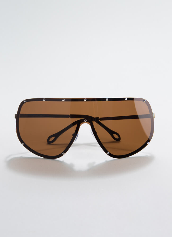 Celeb Studded Goggle Sunglasses BROWN