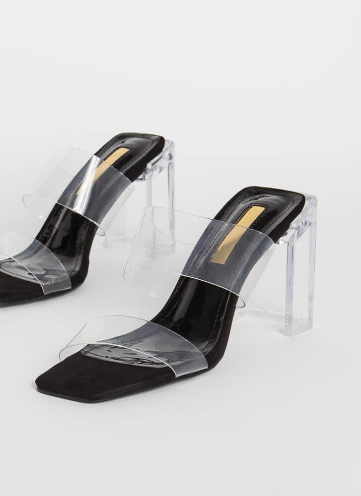 Clear Illusion Faux Suede Lucite Heels BLACK