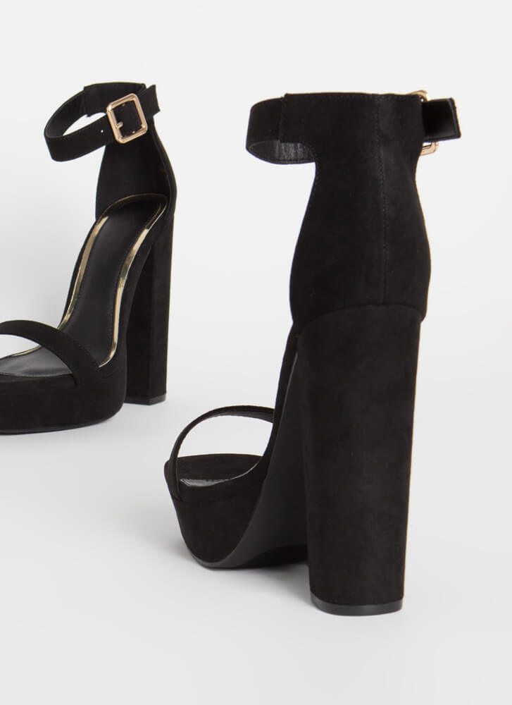 Tall Girl Chunky Faux Suede Platforms BLACK