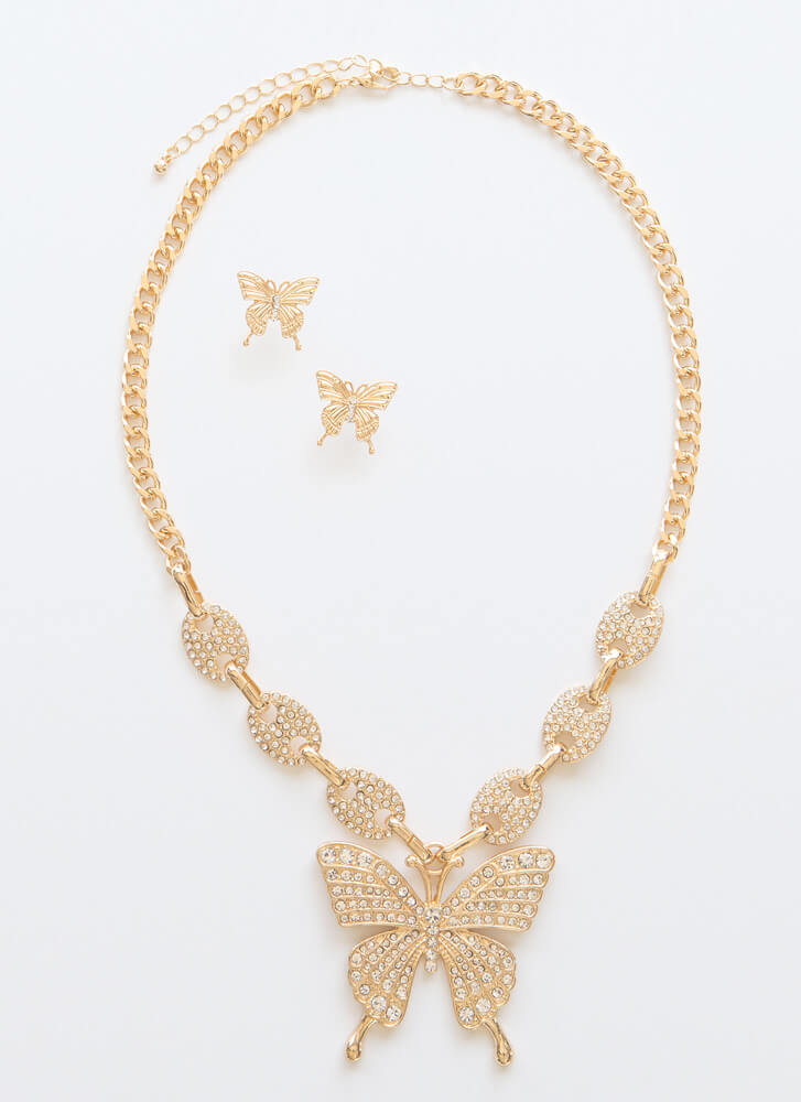 Social Butterfly Jeweled Necklace Set GOLDCLEAR