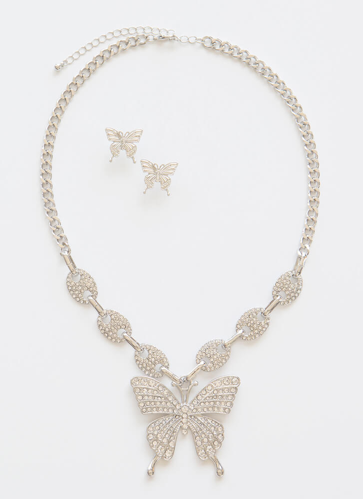 Social Butterfly Jeweled Necklace Set SILVERCLEAR