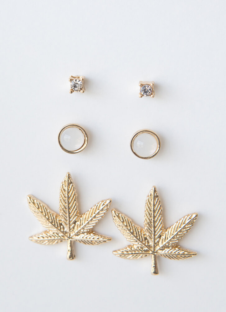 Mary Jane's A Lady Too Leaf Earring Set GOLD