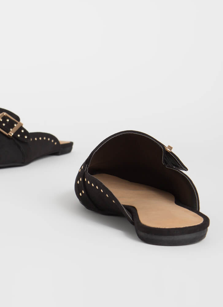 Edgy-Chic Pointy Studded Mule Flats BLACK