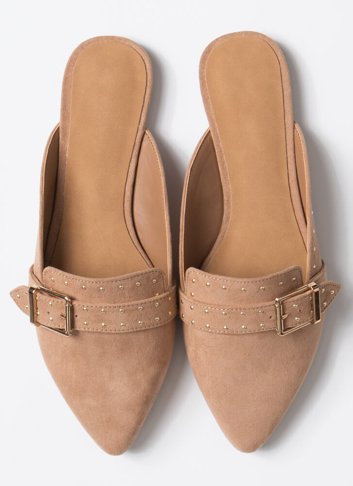 Edgy-Chic Pointy Studded Mule Flats CAMEL