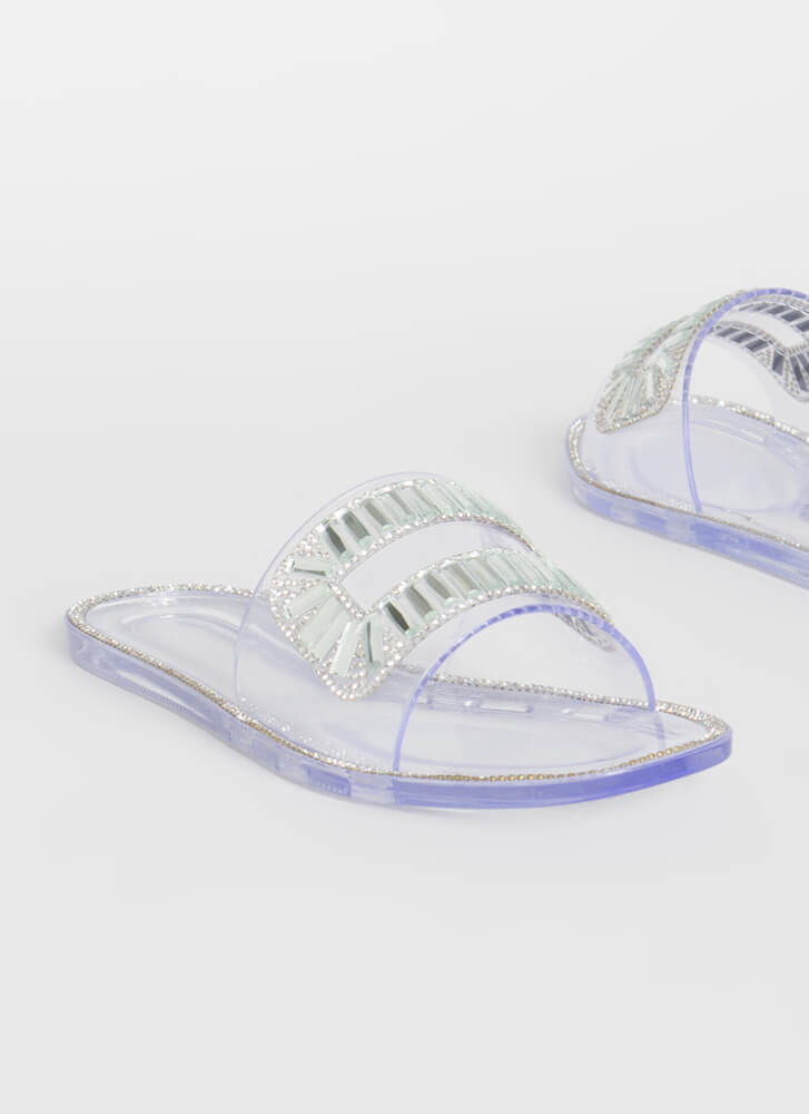 Crystal Ball Jeweled Jelly Slide Sandals CLEAR