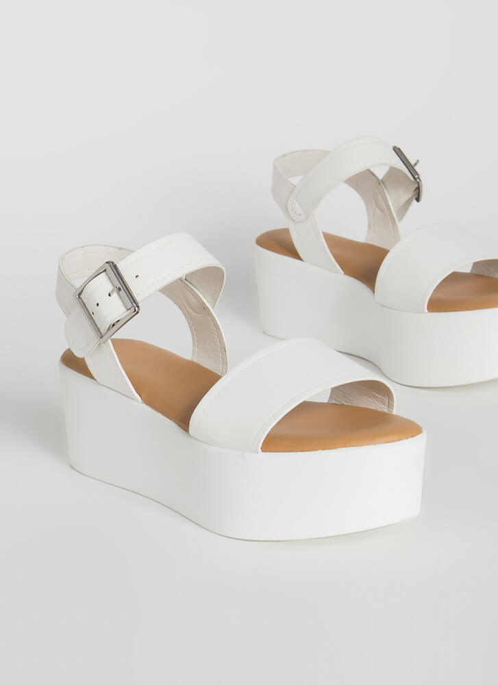 Higher-Ups Faux Leather Platform Sandals WHITE