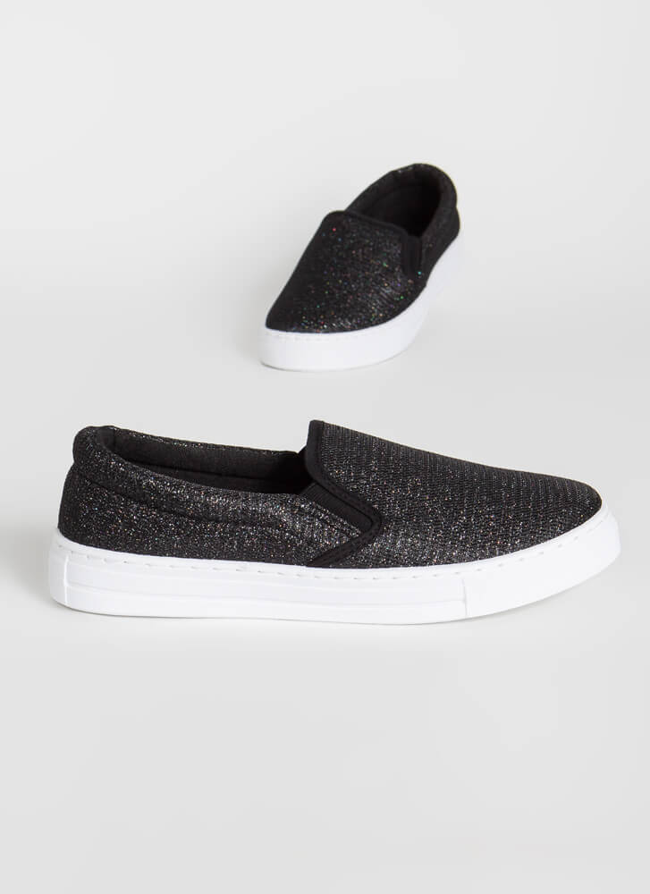 Sparkly Personality Slip-On Sneakers BLACK