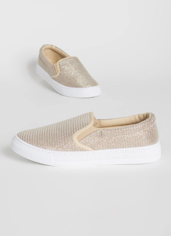 Sparkly Personality Slip-On Sneakers CHAMPAGNE