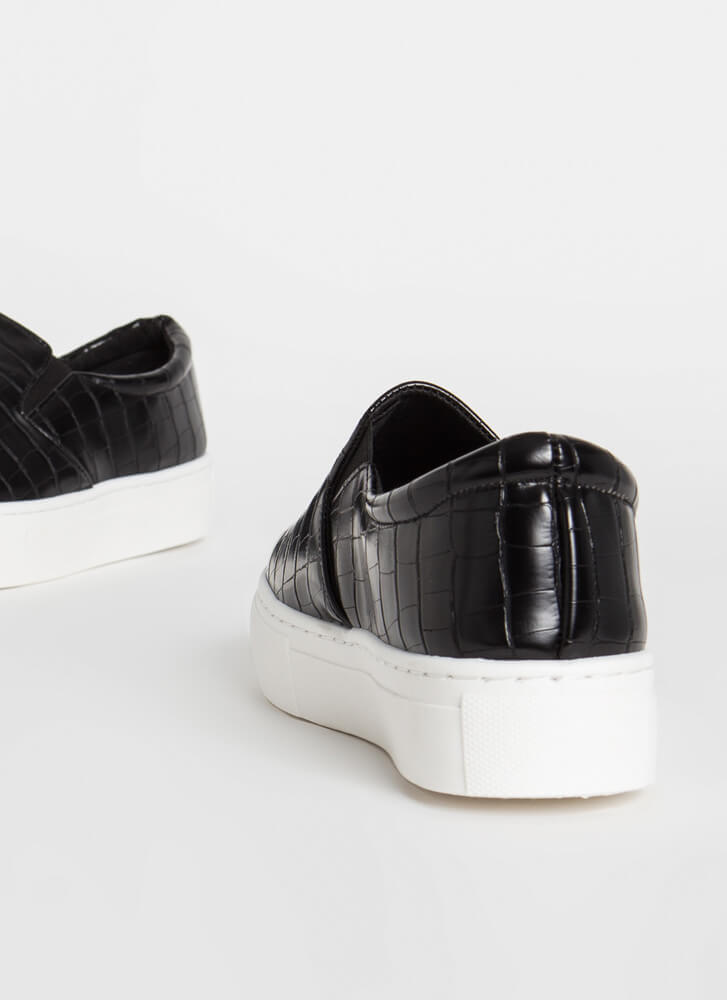 New Platform Faux Crocodile Sneakers BLACK