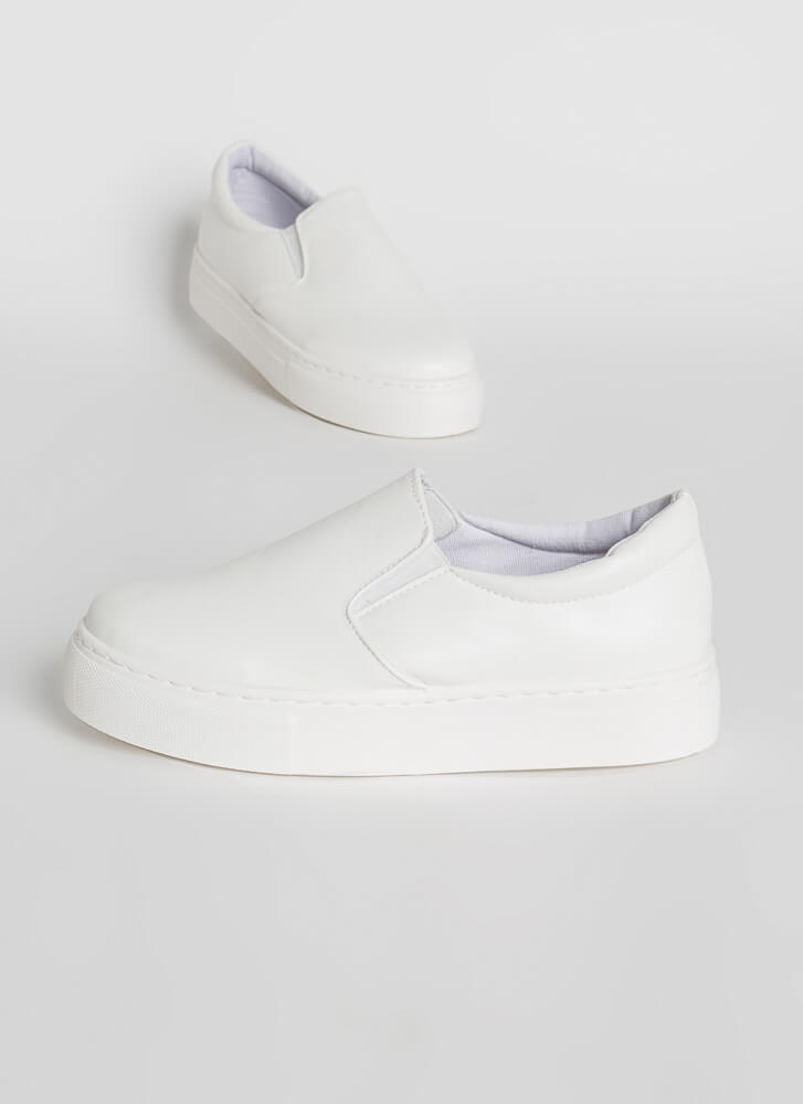 New Platform Faux Leather Sneakers WHITE