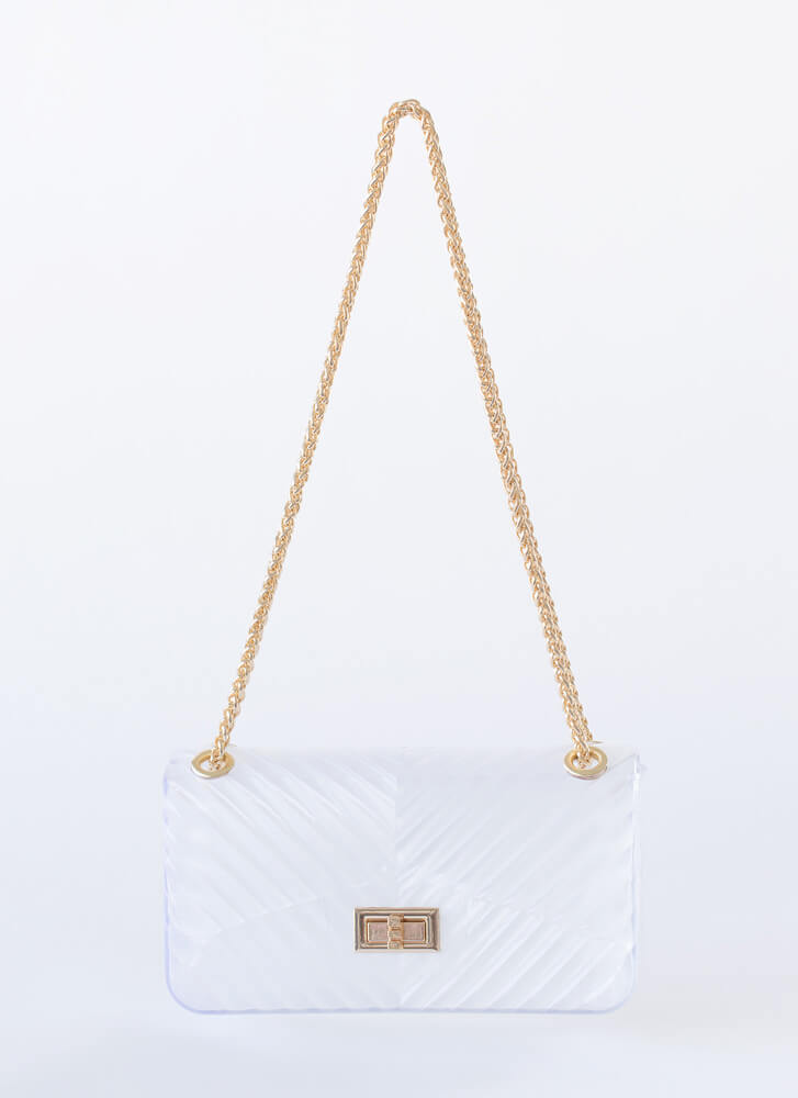Chevron Chic Ridged Jelly Handbag WHITE