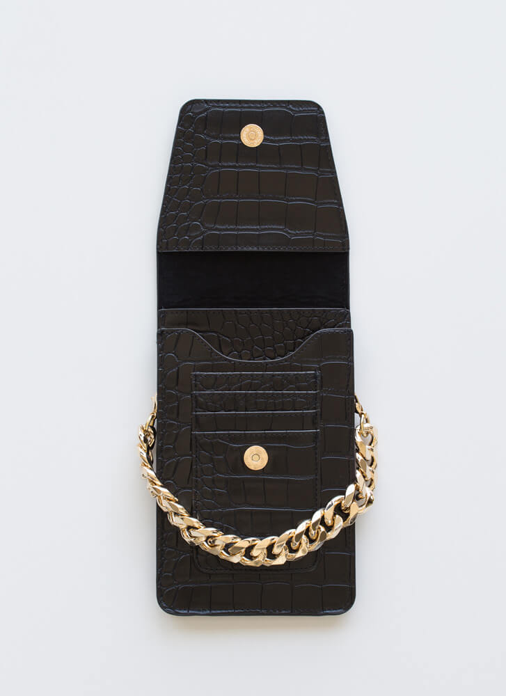 In A While Crocodile Wallet Clutch BLACK