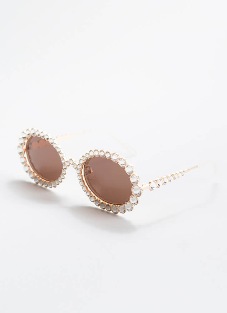 Elton Called Jeweled Sunglasses BROWNGOLD