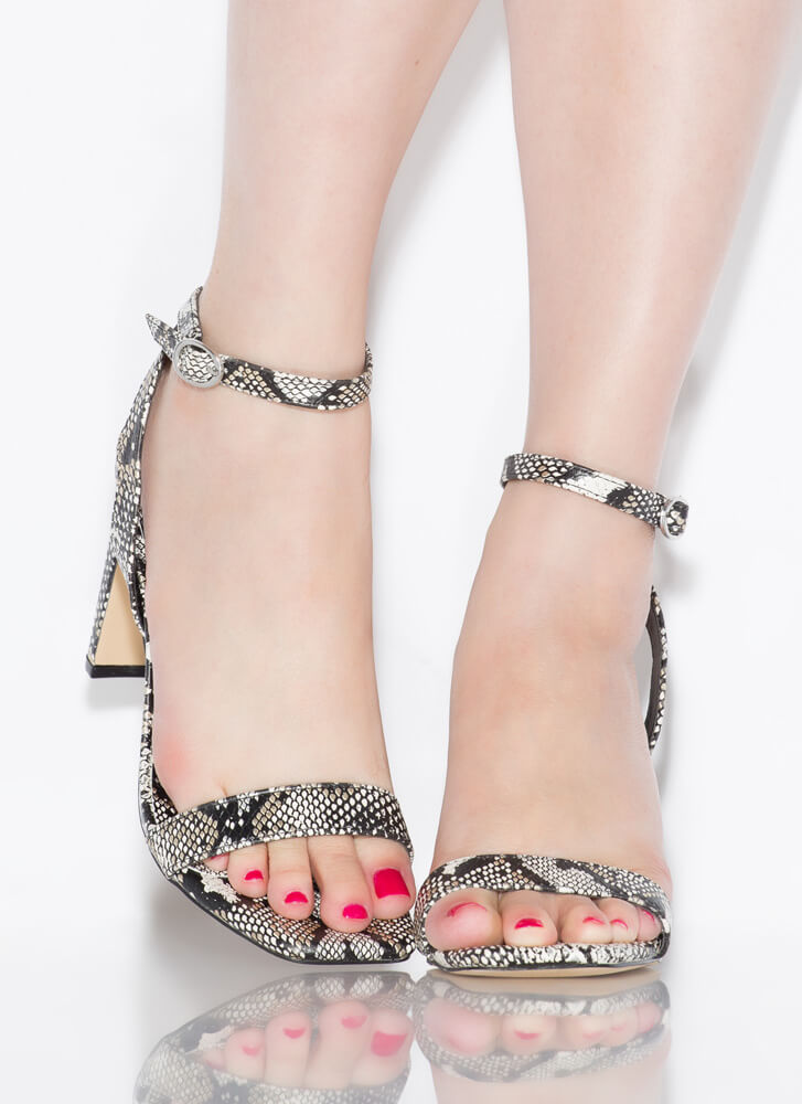 The Bar Is High Faux Snake Heels METALLIC