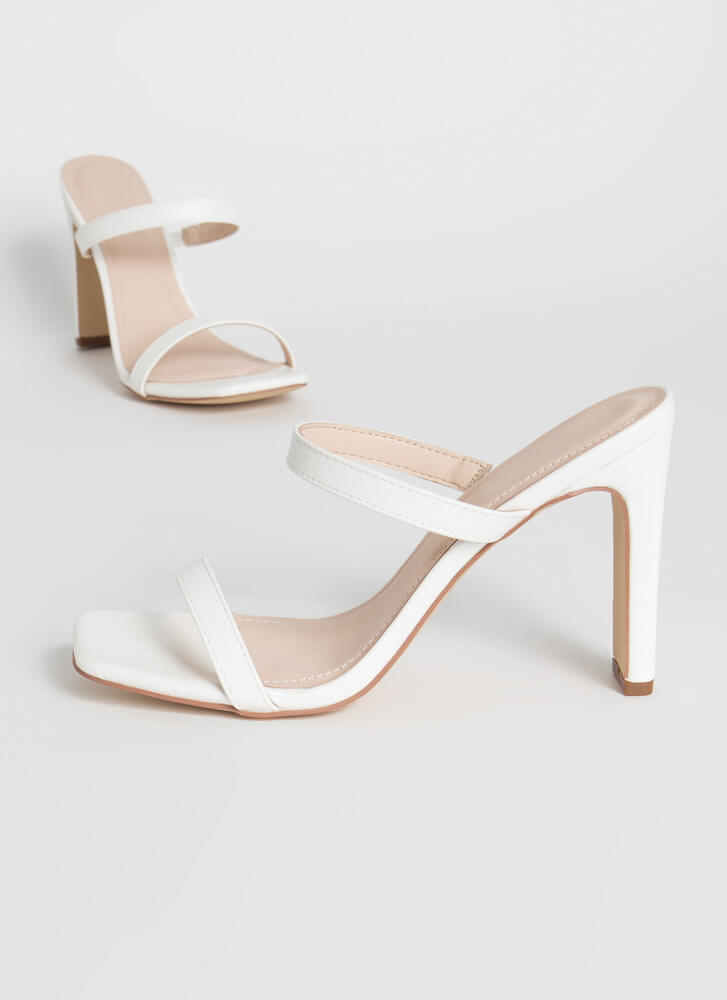 Bar Raised Strappy Faux Leather Heels WHITE
