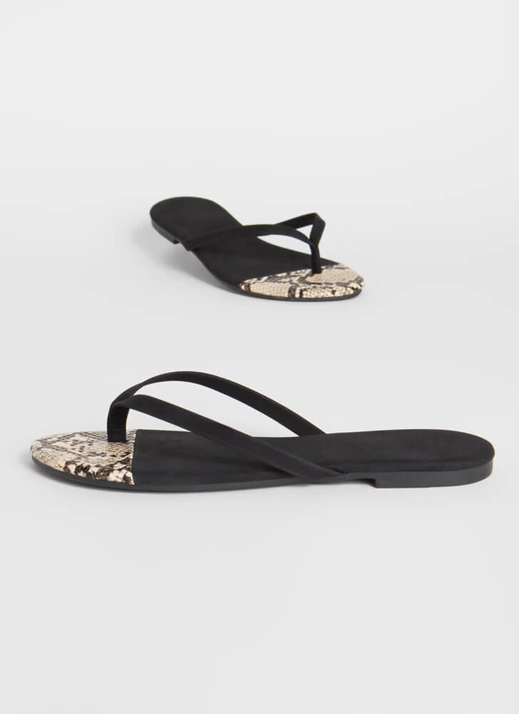 Dip Your Toes In Animal Print Sandals BLACK