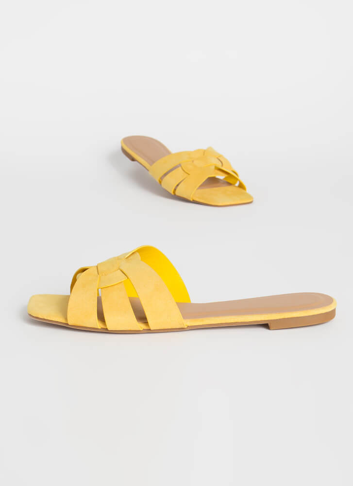 Pretty Feet Looped Strap Slide Sandals AMBER