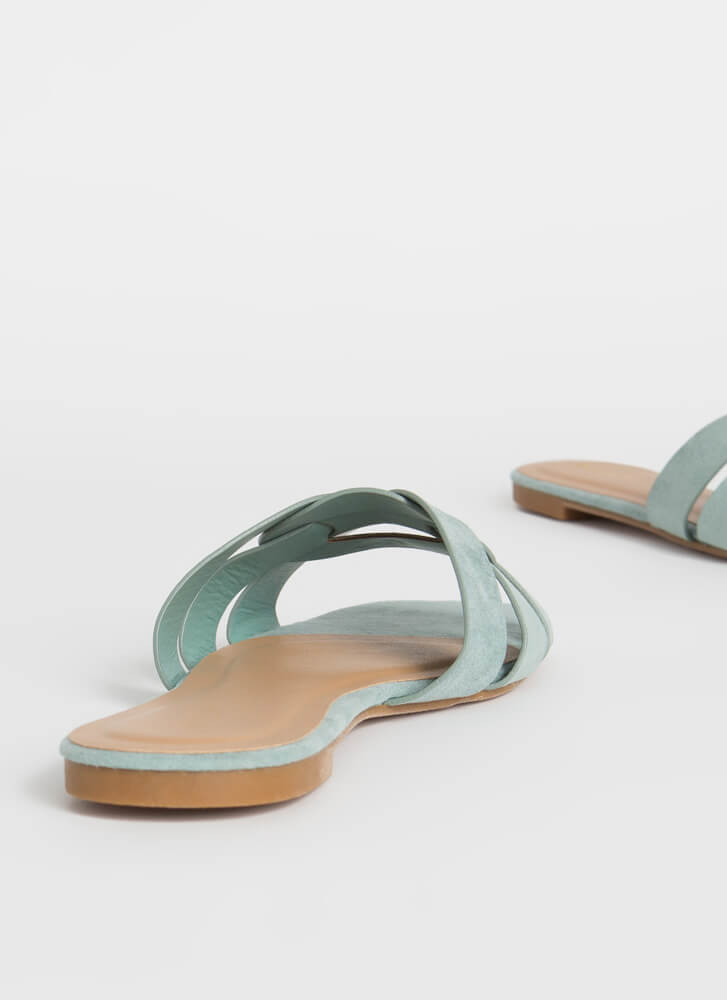 Pretty Feet Looped Strap Slide Sandals SAGE