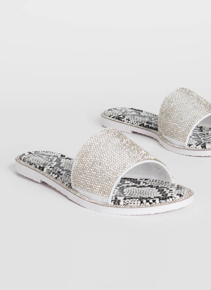 Like An Animal Jeweled Slide Sandals CLEAR