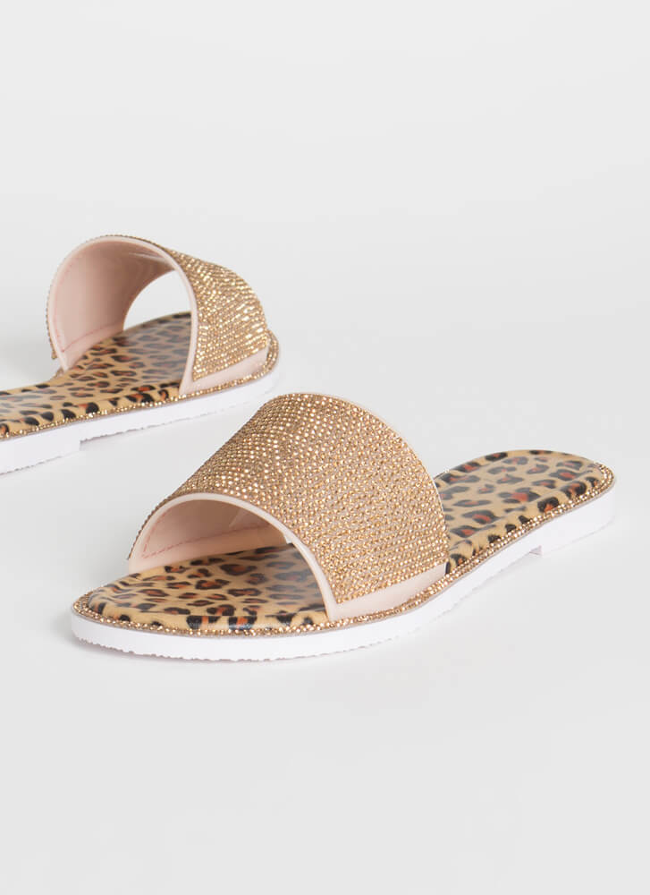 Like An Animal Jeweled Slide Sandals GOLD