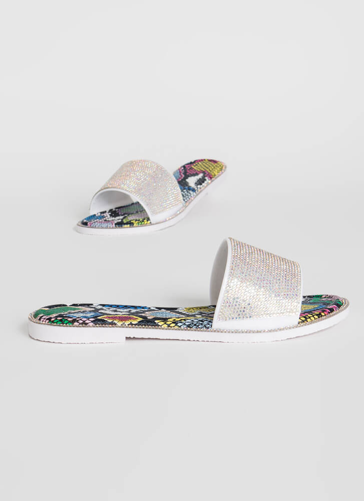 Like An Animal Jeweled Slide Sandals IRIDESCENT